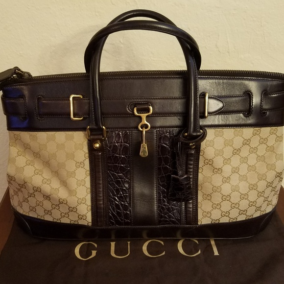 f04fa5911 Gucci Bags | Secret Gg Canvas Crocodile Large Tote | Poshmark